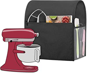 Luxja Dust Cover Compatible with 6-8 Quart KitchenAid Mixers, Dust Cover with Cloudy side Pockets for 6-8 Quart Stand Mixers and Extra Accessories, Black