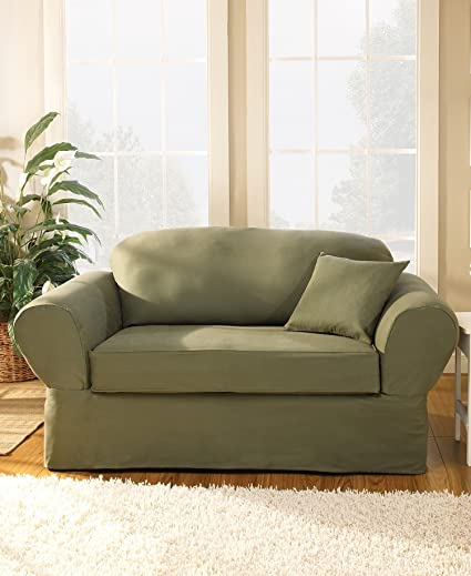 Superior Sure Fit Twill Supreme Universal   Sofa Slipcover   Flax (SF35378)