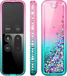 E-Began Protective Case for Apple TV 4K (5th Generation) / 4th Generation Siri Remote Controller - Glitter Liquid Quicksand Waterfall Floating Sparkle Bling Diamond Shockproof Cover -Pink/Aqua