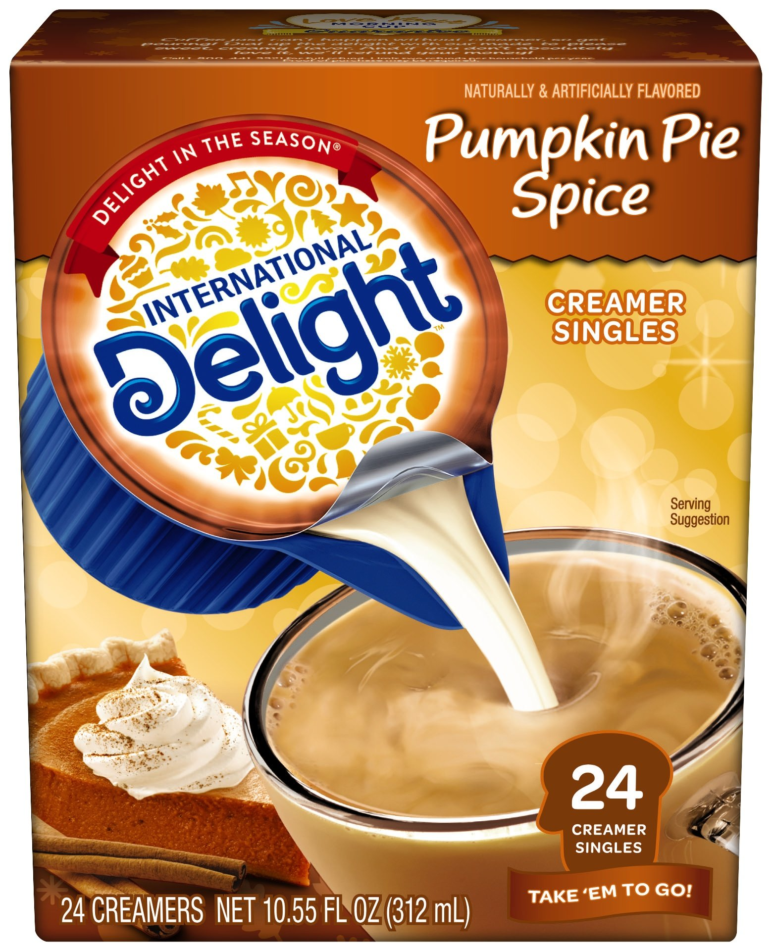 International Delight Coffee Creamer Singles, Pumpkin Pie Spice, 24 Count (Pack of 6)