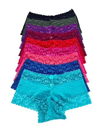 63475672a Iheyi 12 Pack of Women s Regular   Plus Size Lace Boyshort Panties Panty  Underwear (Small