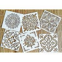 OBUY Reusable Stencil Laser Cut Painting Template Floor Wall Tile Fabric Furniture Stencils Mandala Painting Stencils…