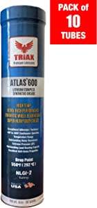 Triax Atlas 600 Full Synthetic High Temp NLGI-2 | Wheel Bearing, Heavy Duty Ultra High Performance Grease | Virtually Waterproof (Marine) | High Adhesion | High EP Rating (Pack of 10 Tubes)