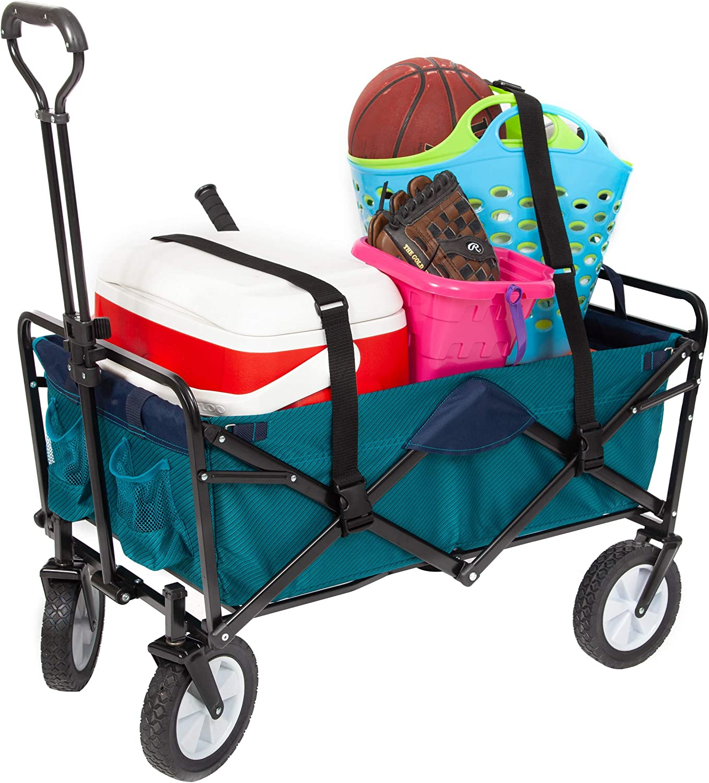 MacSports Heavy Duty Collapsible Outdoor Folding Wagon Portable Lightweight Utility Cart Adjustable Rolling Cart All Terrain Sports Wagon Beach Wagon