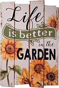 OSW Sunflower Hanging Wooden Sign Life is Better in The Garden Rustic Farmhouse Hanging Wall Art Decorative Wood Plaque for Front Door, Porch, Patio, Indoor or Outdoors 23 x 15 inches
