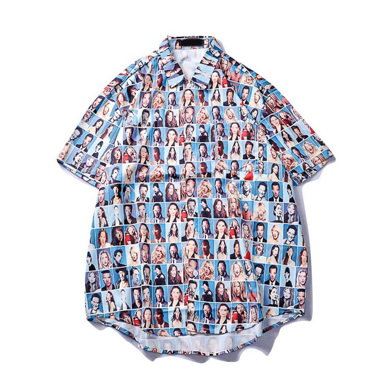 Harujuku Shirt Mens Casual Turn-Down Collar Mens Shirts Summer Hip Hop Printing Hawaiian Short Sleeve Shirt