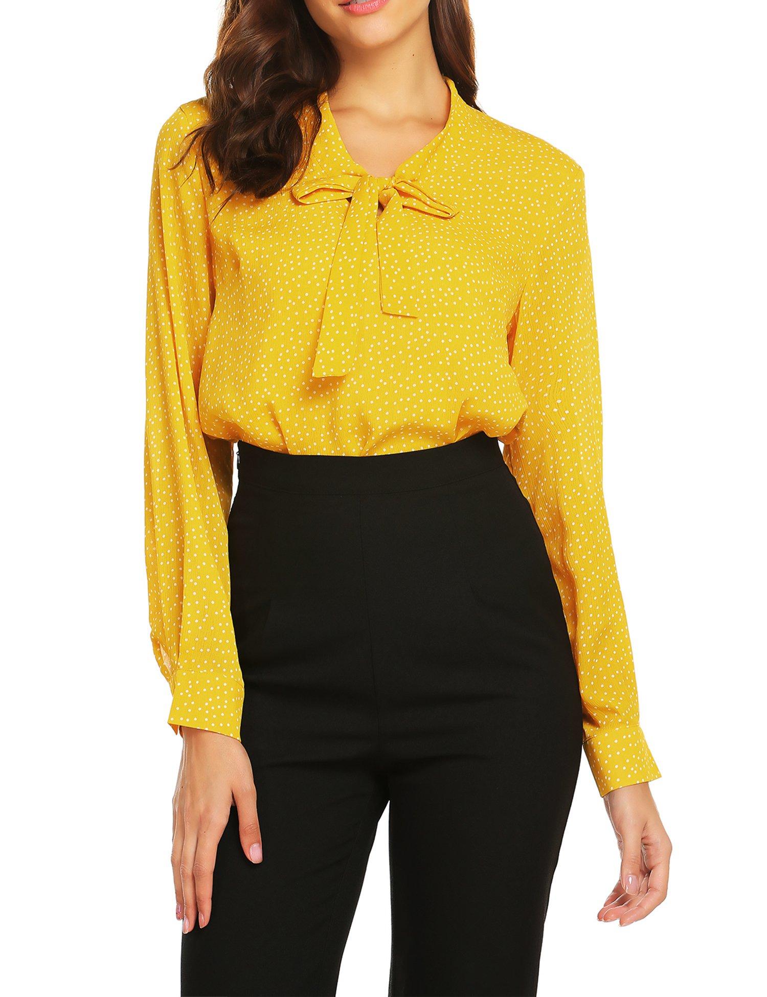 ACEVOG Women Casual Long Sleeve Roll-up Sleeve Chiffon V Neck Blouse,Yellow Polka Dot,M