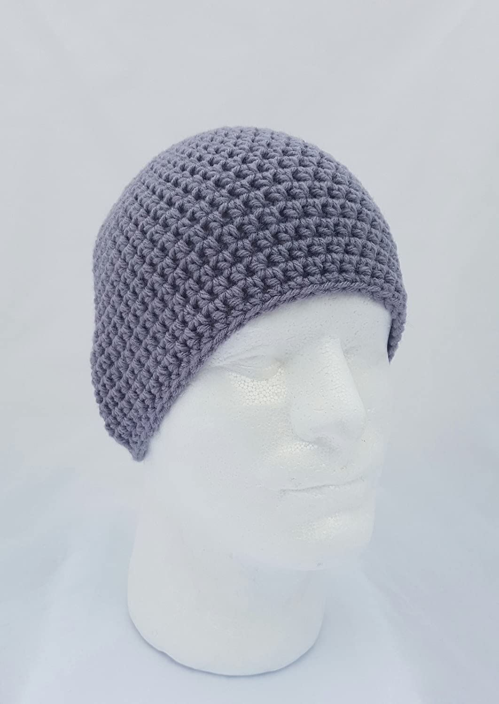 Amazon.com  Men s Light Grey Crochet Beanie Hat  Handmade a7cd46f6c2a