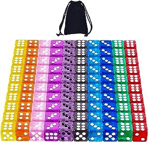 AUSTOR 100 Pieces Dice 12mm Game Dice Set 6 Sided Dice Translucent Colors Square Corner Dices Set for Tenzi, Farkle, Yahtzee, Bunco or Teaching Math with a Velvet Drawstring Bag