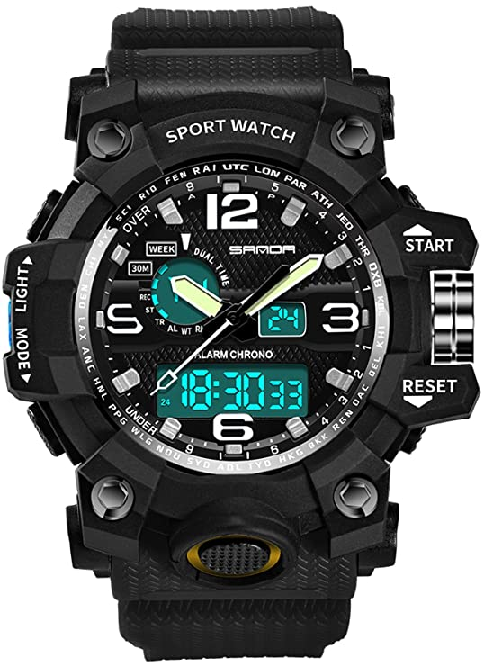 Amazon.com: Mens Watches Military Sports Electronic Waterproof LED Stopwatch Digital Analog Dual Display Outdoor Army Wrist Watch Tactical: Watches