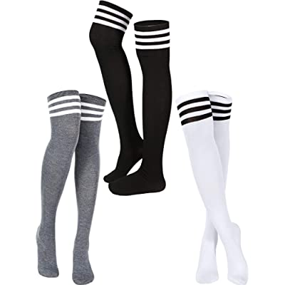 3 Pairs Triple Stripe Over the Knee Socks Extra Long Opaque Thigh High Stockings at Amazon Women's Clothing store