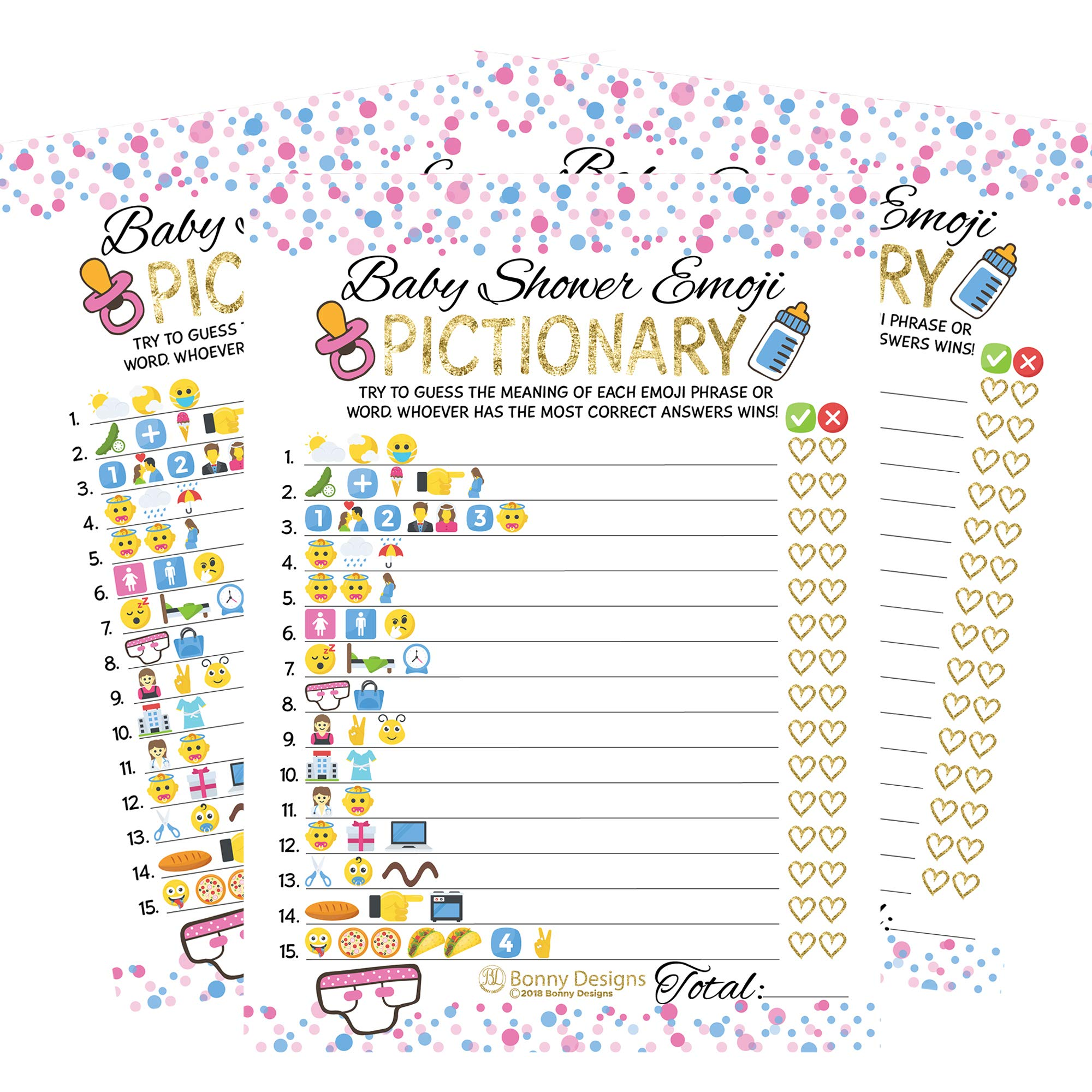 50 Sheets Emoji Pictionary Baby Shower Games for Men, Women - Kids, Girls, Boys, and Couples | Party Bundle Set, Favors | Pink, Gold and Blue | Neutral, Unisex Adult Guessing Cards by Bonny Designs