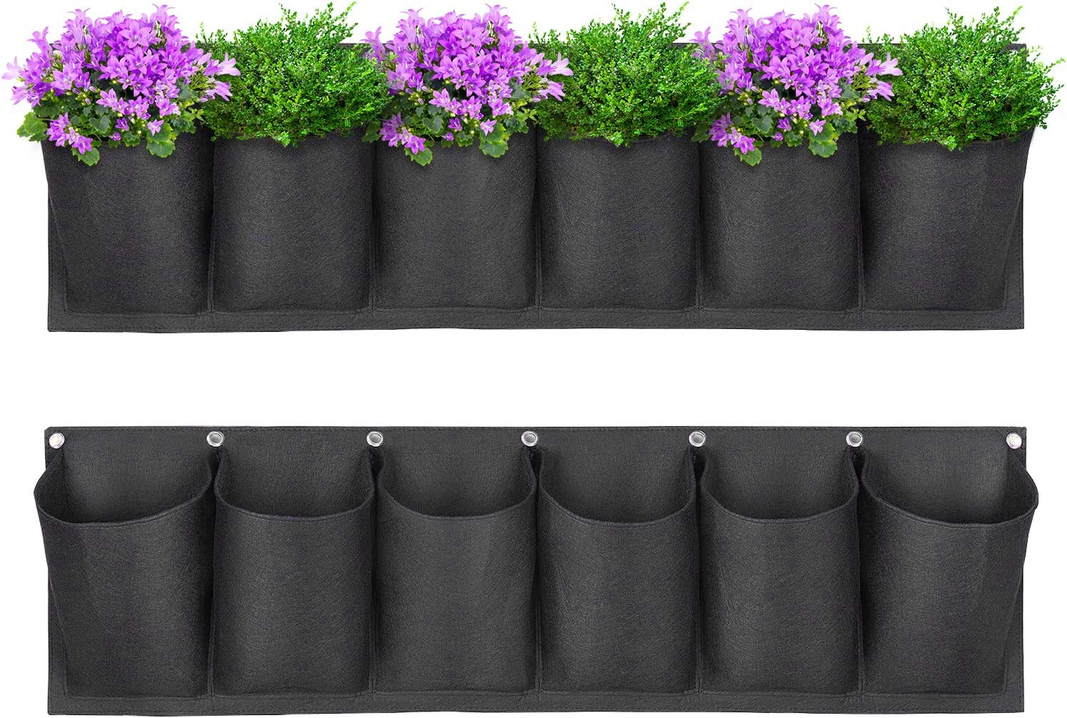 Yuccer Vertical Garden Planter 6 Pockets Planting Grow Bags Wall Hanging Planter For Outdoor Indoor Yards Garden Vegetables Flowers Home Decoration Black Amazon Co Uk Garden Outdoors