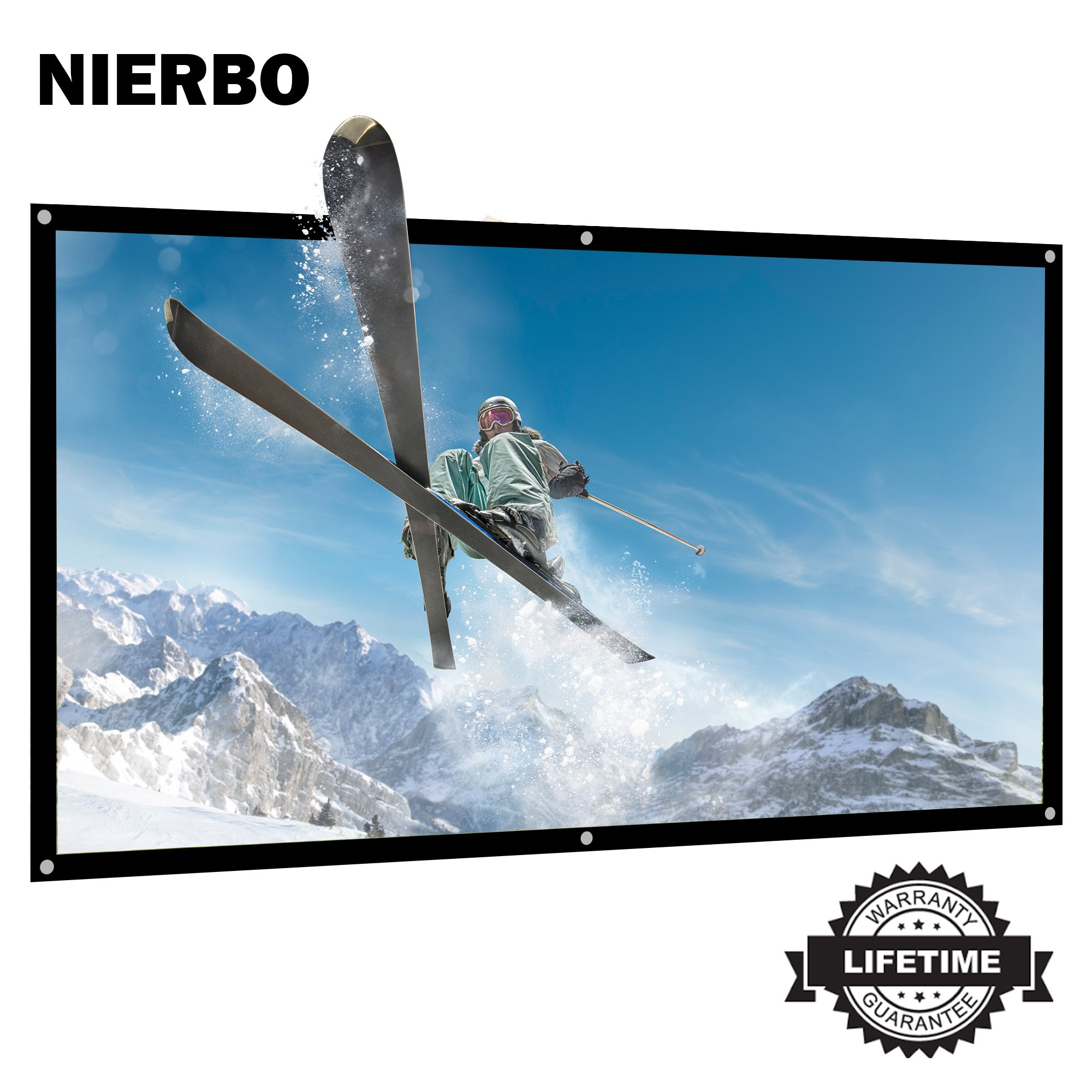 84 inch Projector Screen Rolled Up Portable Screen for Outdoor Indoor 4K Full HD Projection Screen WRINKLES Free