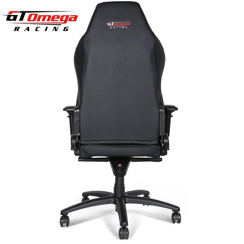 Silla de oficina GT Omega Racing, modelo EVO XL, de piel, color negro, estilo deportivo, para gaming: Amazon.es: Hogar