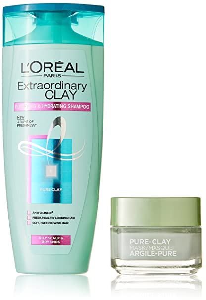 96c467c30aa Buy L'Oreal Paris Pure Clay Mask, Eucalyptus, 48g with Extraordinary Clay  Shampoo, 175ml Online at Low Prices in India - Amazon.in