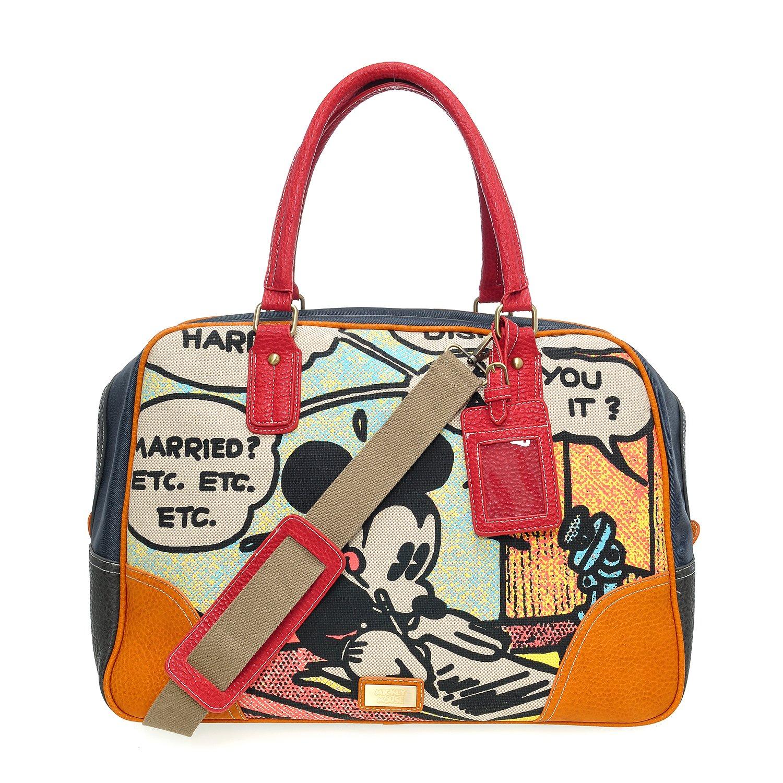Letter A73.Disney Mickey Mouse Men Women Denim Travel Weekend Duffel Overnight Gym Bag