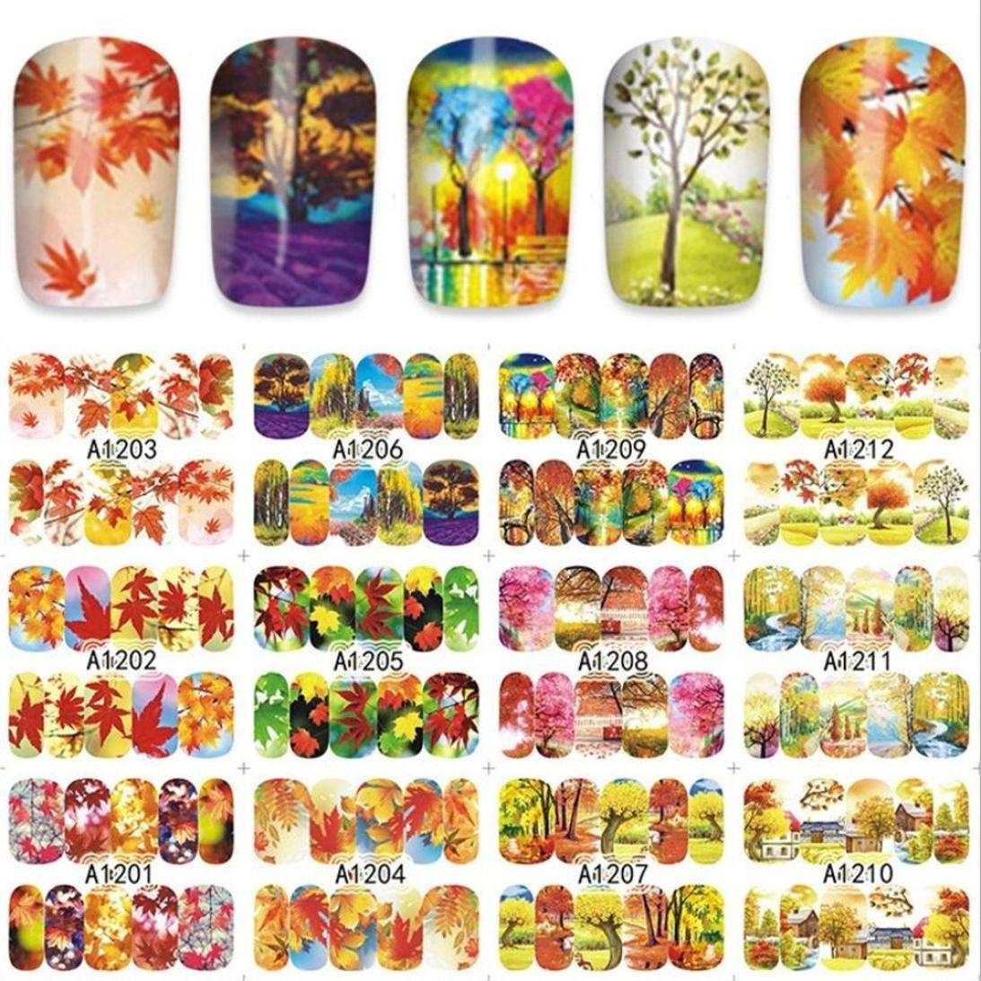 Exteren 12Patterns Water Decals Nail Art Transfer Stickers Big Sheet Manicure Decoration Nail Art Design Nail Art Supplies Nail Kit (B)
