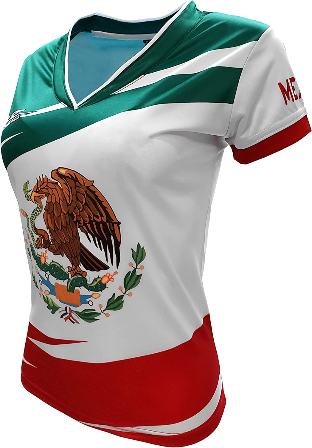 Mexico Jersey Arza Design for Women with V Neck Color Green,White,Red