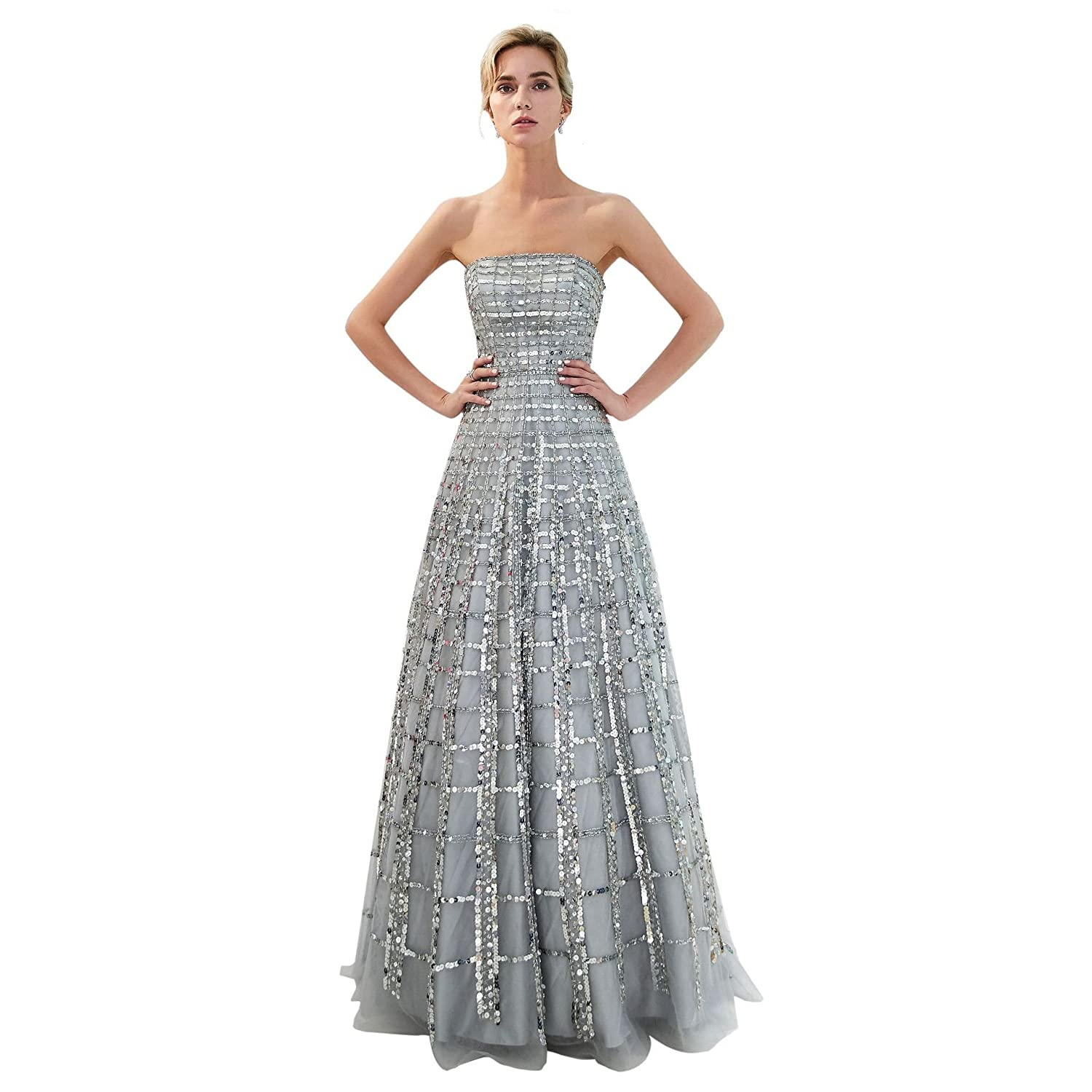 1f2390c87f7e Trendership Women's Elegant Strapless A-line Prom Dress Long Sequin Tulle Formal  Gown at Amazon Women's Clothing store: