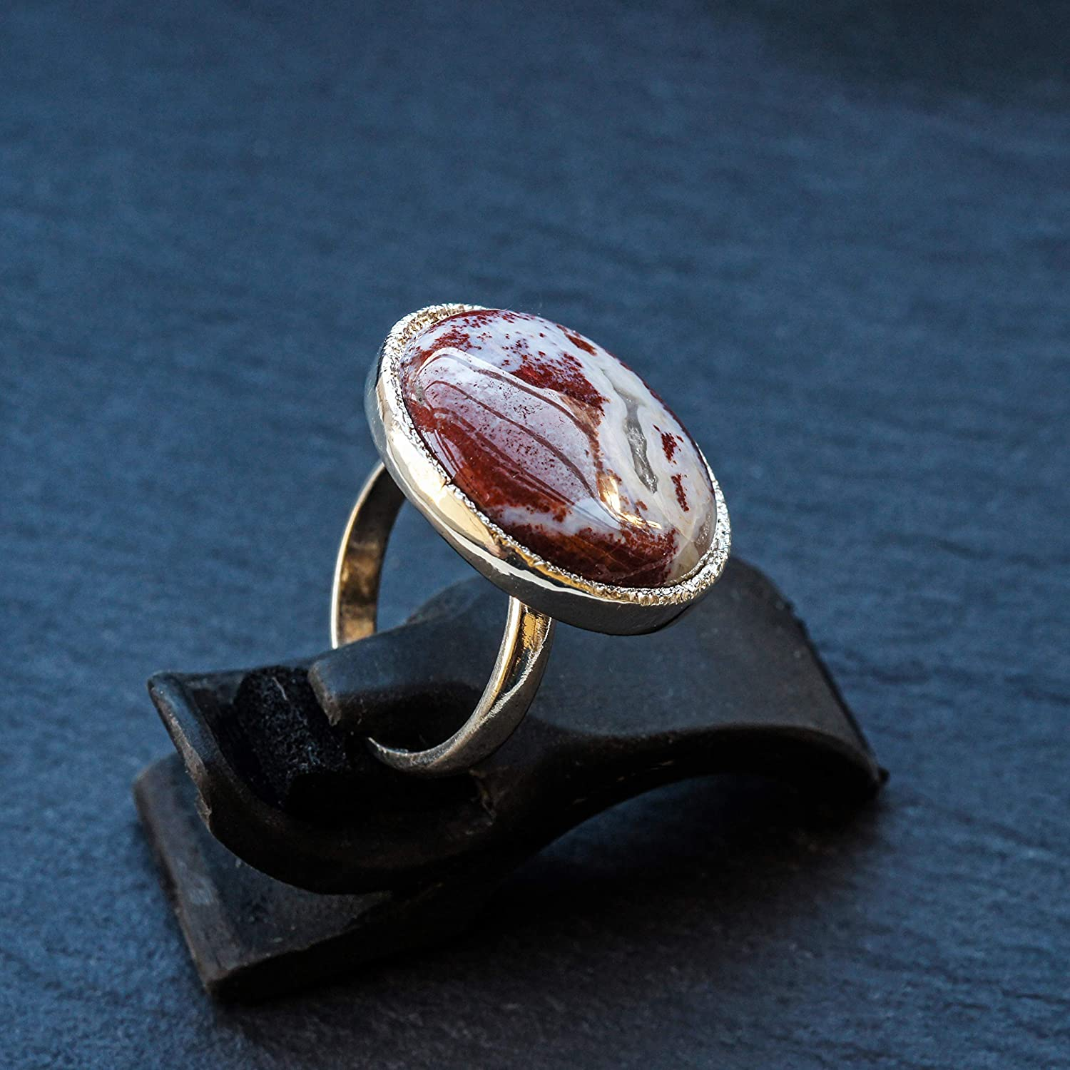 Red Jasper Oval Sterling Silver 16 x14 mm Stone Wire Wrapped Handcrafted Ring