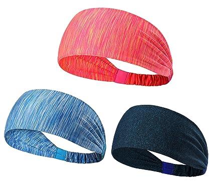 Sheliky Sport Headband Yoga Hairband Moisture Wicking Sweatbands Women Men  Athletic Workout Bandana Headscarf Headband for Running Fitness Tennis  Cycling 09b3fa7f23a