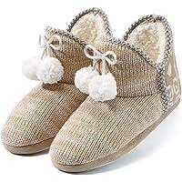 Chaussons Femmes Intérieur   Pantoufles - Doux - Chaud - Anti-Slip - Léger - Abricot/Gris - Peluche Intérieur Chaussures - Ideal l'hiver Maison Chaussures
