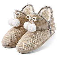 Chaussons Femmes Intérieur | Pantoufles - Doux - Chaud - Anti-Slip - Léger - Abricot/Gris - Peluche Intérieur Chaussures - Ideal l'hiver Maison Chaussures