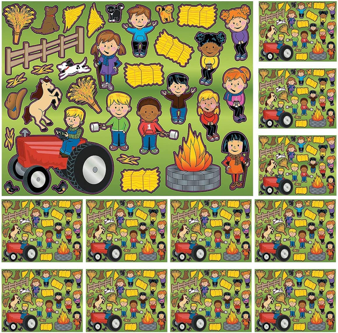 Kicko Make a Hayride Sticker - Set of 12 Hayride Stickers Scene for Birthday Treat, Goody Bags, School Activity, Group Projects, Room Decor, Arts and Crafts