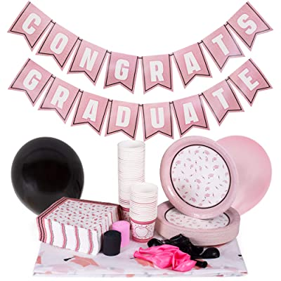 Rose Gold Graduation Party Supplies | Decoration Kit Includes Custom Tablecloth, Pennant Banner, 50 Plates, 15 Balloons, 100 Napkins, 50 Snack Cups | High School, College, and Kids Grad Accessories: Toys & Games