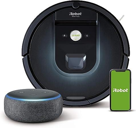 iRobot Roomba 981 - Robot Aspirador, WiFi, Aspiración de Alta Potencia, Dirt Detect, Recarga y Sigue la Limpieza + Echo Dot (3.ª generación) - Altavoz Inteligente con Alexa, Tela de Color Antracita: Amazon.es: Hogar