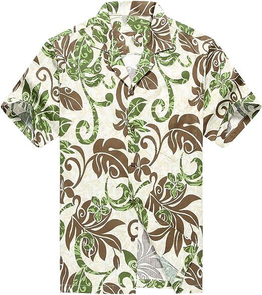 Made in Hawaii Mens Hawaiian Shirt Aloha Shirt Palms Flowers Houses in Brown