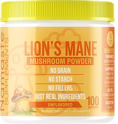 Lion s Mane Nootropic Mushroom Powder – Improves Immunity, Creativity, Memory, Focus, Health – USDA- Non GMO – 100 Servings per Jar – Hericium Erinaceus Fruiting Bodies
