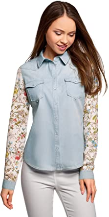 oodji Ultra Mujer Camisa Vaquera Combinada, Azul, ES 44 / XL: Amazon.es: Ropa y accesorios