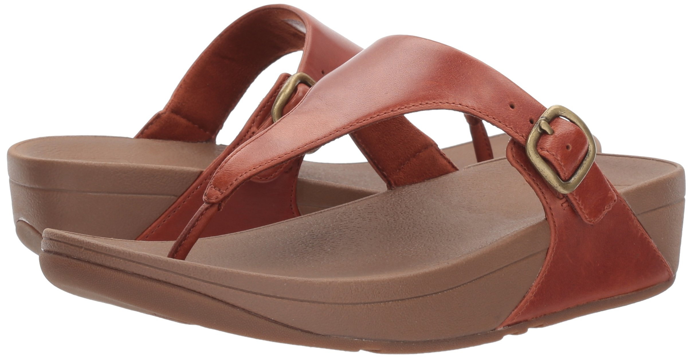 FitFlop Women's The Skinny Leather Toe-Thong Sandal, Dark Tan, 10 M US by FitFlop (Image #6)