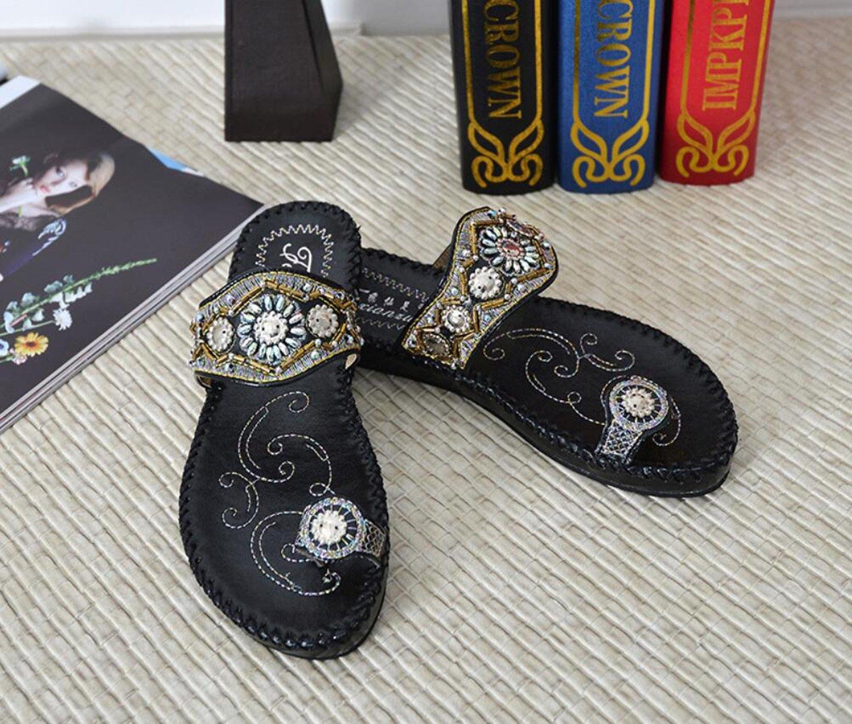GDXH Frauen Flip-Flops Sommer Bestickt Perlen Klippzehe Klippzehe Klippzehe Low-Heeled Strand ethnischen Stil Flache Sandalen (schwarz weiß 35-41) Mode Hausschuhe 3bdebf