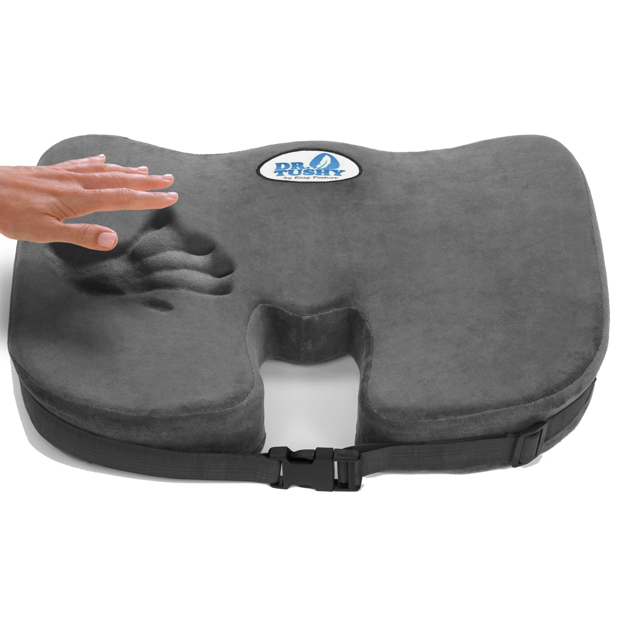 Dr Tushy 100 Memory Foam Seat Cushion With Orthopedic Design Comfort To Help Relieve Pressure From Sciatica Coccyx Tailbone Back Pain