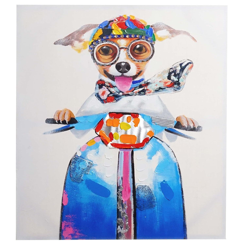 Ölgemälde Hund, 100% handgemaltes Wandbild 3D-Bild Gemälde XL, 100x90cm