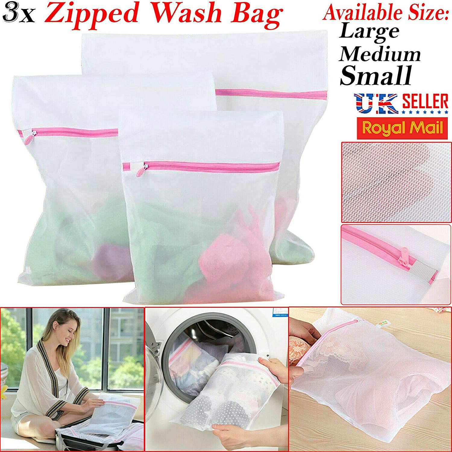 Zipped Laundry Washing Machine Mesh Net Bra Socks Lingerie Underwear Wash Bag LI