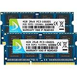 DUOMEIQI 8GB Kit (2 X 4GB) 2RX8 PC3-10600 PC3-10600S DDR3 1333MHz SO-DIMM CL9 204 Pin 1.5v Non-ECC Unbuffered Laptop…