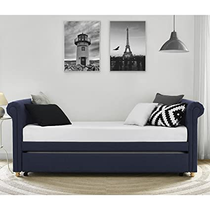 Pleasing Amazon Com Navy Upholstered Daybed And Trundle Living Room Bralicious Painted Fabric Chair Ideas Braliciousco