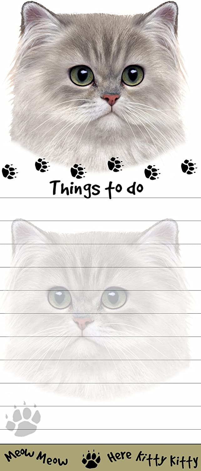 """Persian Cat Magnetic List Pads"" Uniquely Shaped Sticky Notepad Measures 8.5 by 3.5 Inches E&S Pets (white) cat Notepad"