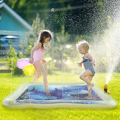 Satkago 69inch Square Water Sprinkle Pad Splash Play Mat
