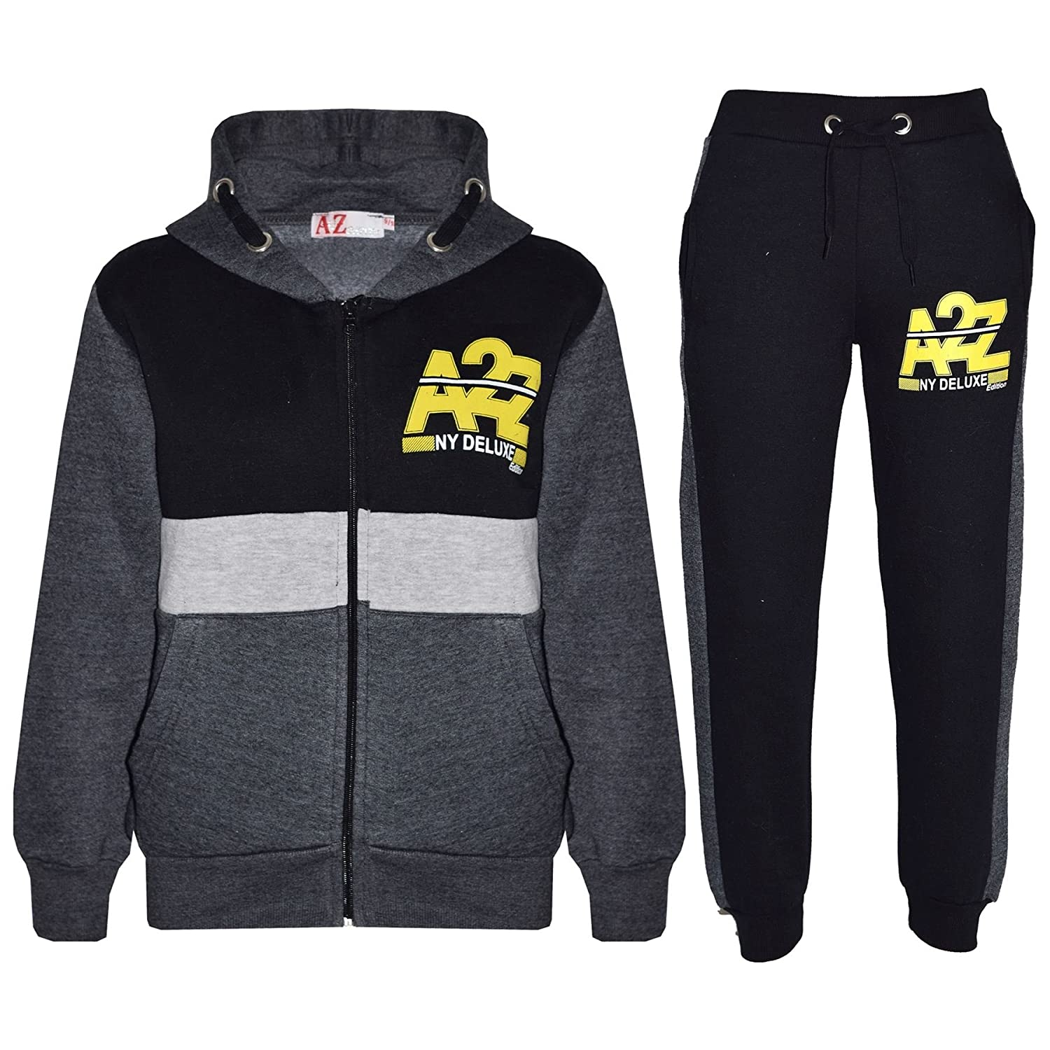 Kids Boys Designer/'s Tracksuit Zipped Top Bottoms Kids Jogging Suits 7-13 Years