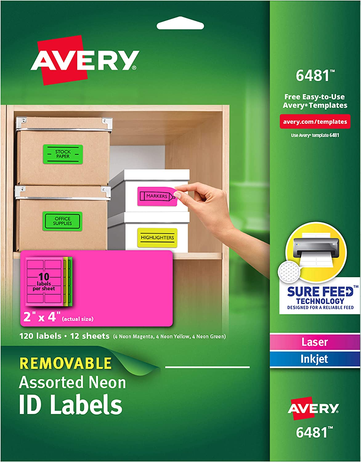 Avery Multipurpose Labels, Removable, Assorted Neon, 2 x 4 Inches, Pack of 120 (6481) : Office Products