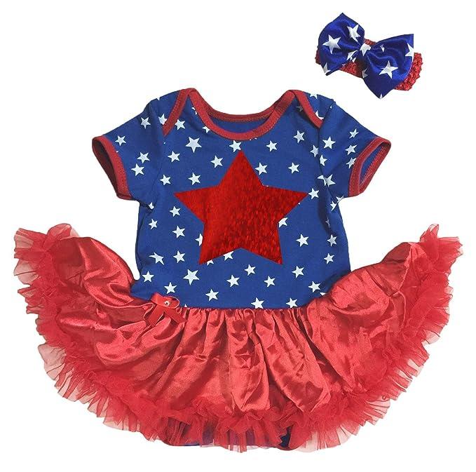 09fec2e46df ... cheaper 4bb8b f724d UK Baby Dress Bling Stars Blue Bodysuit Red Tutu Romper  Set Nb- ...