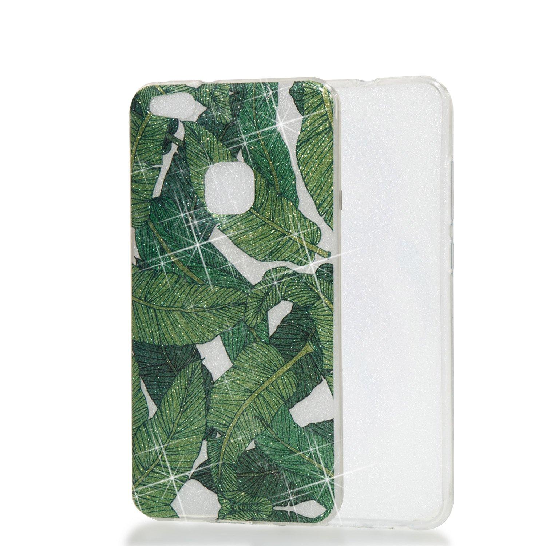 Qiaogle Té lé phone Coque - Soft TPU Silicone Housse Coque Etui Case Cover pour Huawei P10 Lite (5.2 Pouce) - YB78 / Feuilles de Banane