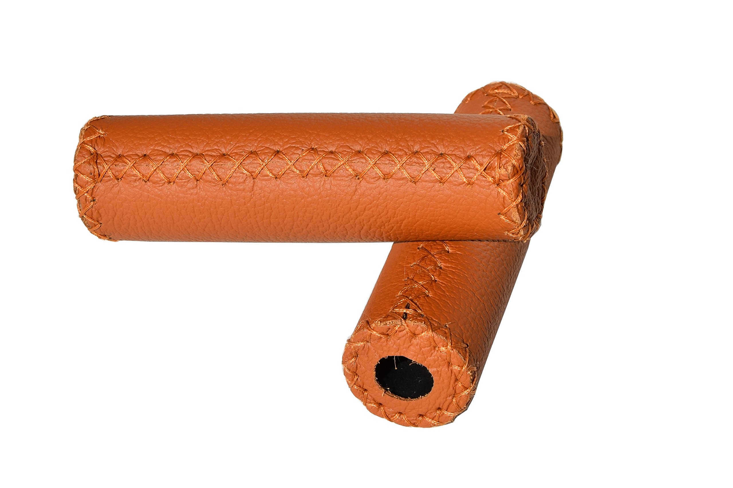 Bicycle Handlebars Grips (Straight). Bike Vintage Style. Real leather/Vero CUOIO. Color: Honey. 100% MADE IN ITALY