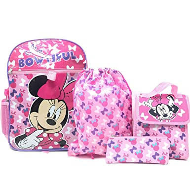 87a93e287b8 Image Unavailable. Image not available for. Color  Disney Minnie Mouse 5pc Backpack  Set Pencil Pouch Water Bottle Cinch   Lunch Bag