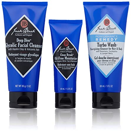 Jack Black – The Fresh Man Set – Clean Break Oil-Free Moisturizer, Turbo Wash Energizing Cleanser, Deep Dive Glycolic Facial Cleanser. 3-Piece Kit.